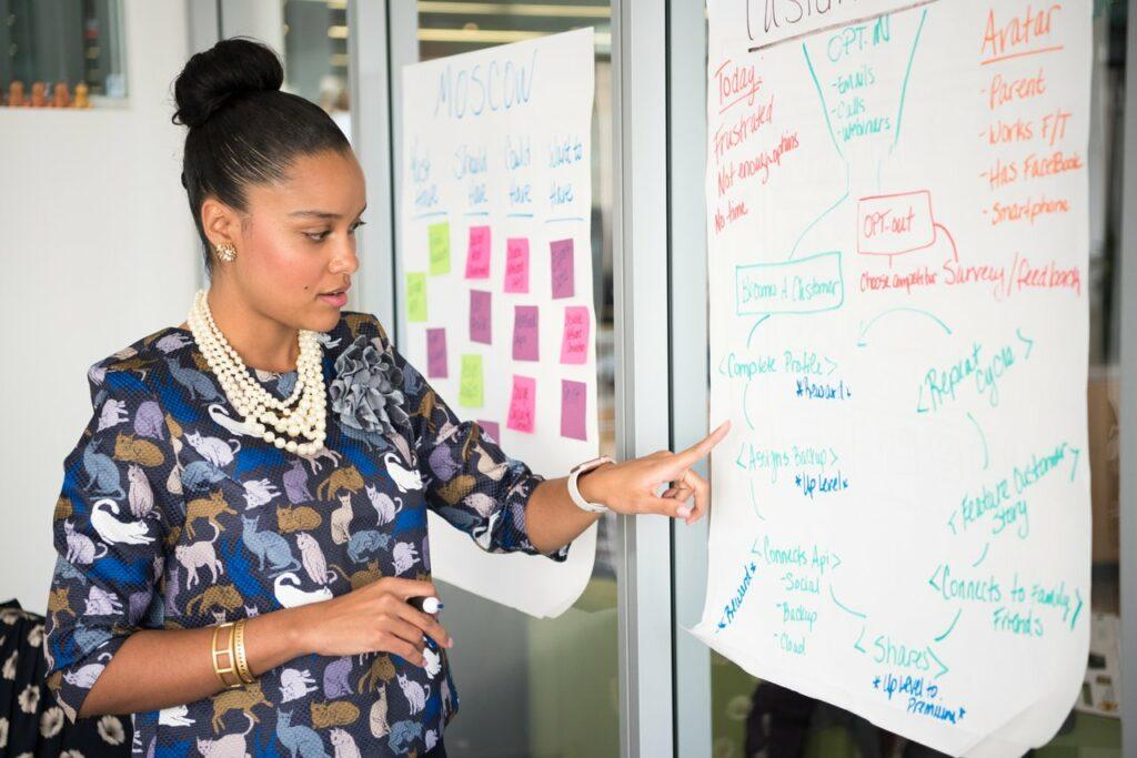 Woman brainstorming meeting