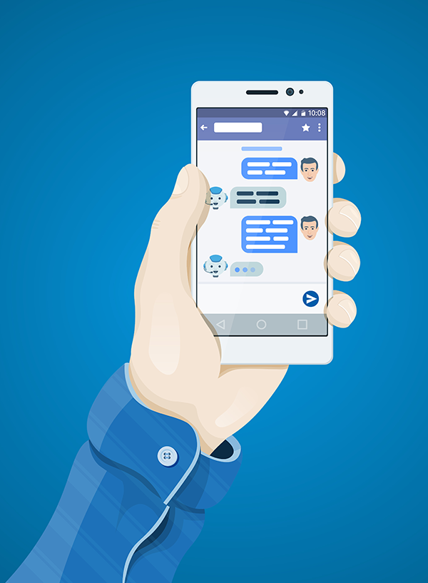 Illustration of chatbot interaction on a mobile device